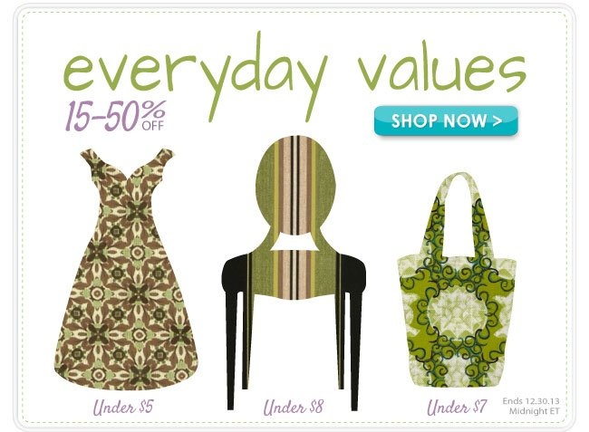 15 to 50% off in Our Everyday Values Sale