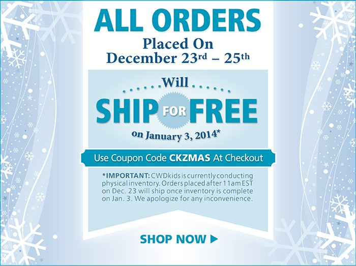 Free Shipping for all orderes with code CKZMAS at checkout