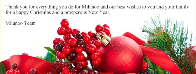 Thank you for everything you do for Milanoo and our best wishes to you and your family for a happy Christmas and a prosperous New Year.