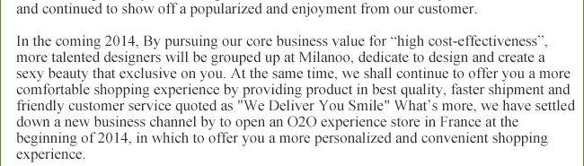 """In the past 12 months, we have worked out new brand strategy, extend our business mode by founding up Milanoo Group, classified the subordinate brands and persist on our brand concept for """"passion for fashion"""" to consolidate the importance of our mission for """"Dress Difference""""."""