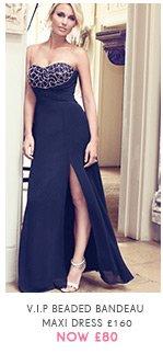 V I P Beaded Bandeau Maxi Dress