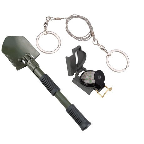 Folding Shovel w/ Pick, Military Compass, & Pocket Wire Saw