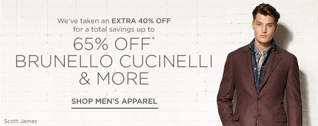 Up to 65% off Men's Apparel