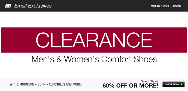 Mens and Womens Comfort Shoes Clearance