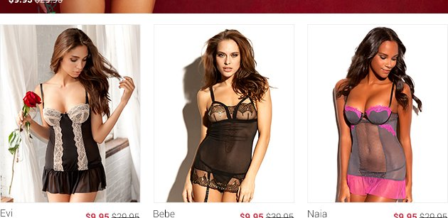 Lingerie sets at 9.95 dollars