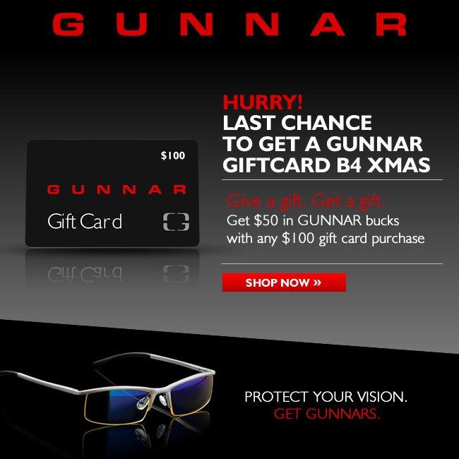 Hurry! Last chance to get a GUNNAR e-gift card
