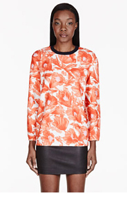 MOTHER OF PEARL Orange Floral Issik Blouse for women
