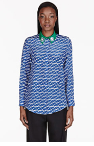 MOTHER OF PEARL Blue Printed Silk Crepe Keres Blouse for women