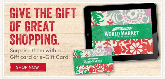 Give the Gift of Great Shopping with a Gift Card or eGift Card