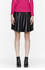 HUSSEIN CHALAYAN Black Leather Pleated Skirt for women
