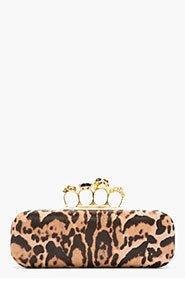 ALEXANDER MCQUEEN Tan Leopard Print Calf-Hair Skull Knucklebox Clutch for women