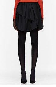 CARVEN Black asymmetric pleated Wool Skirt for women