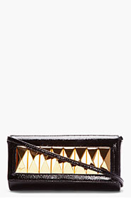 GIUSEPPE ZANOTTI Black Patent Leather Studded Demon Clutch for women