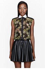 OSTWALD HELGASON Khaki Silk Chiffon Hungry Plants print blouse for women