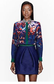 MSGM Navy Silk Floral Print Blouse for women