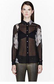 BLK DNM Black Silk Floral Print Blouse for women