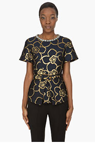 MARNI Gold-embroidered crystal-trimmed Blouse for women