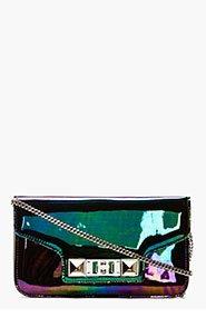 PROENZA SCHOULER Black Iridescent Oil Slick Leather PS11 Chain Clutch for women