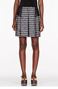 DAMIR DOMA Black & white wool leather-trimmed Pleated Skirt for women