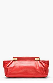 LANVIN Red Leather Trilogy Clutch for women