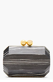 STELLA MCCARTNEY Black Marbled Wood Clutch for women