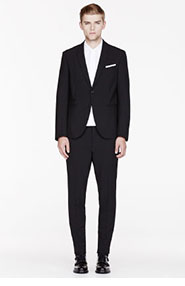 NEIL BARRETT Black Fine Wool Slim-fit Suit for men