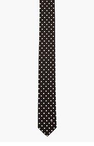ALEXANDER MCQUEEN Black and white polka dot and skull tie for men