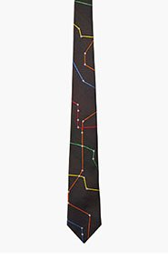 BAND OF OUTSIDERS Black multicolor subway map tie for men