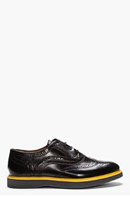 H BY HUDSON Black High-Shine Leather Yellow-Trimmed Wingtip brogues for men