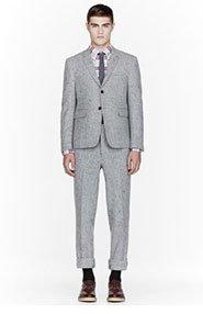 THOM BROWNE Grey wool slub confetti suit for men
