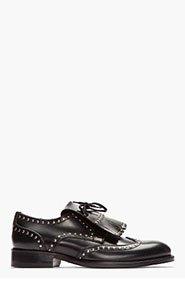 DSQUARED2 Black Studded Leather Fringe Jazz Shoes for men