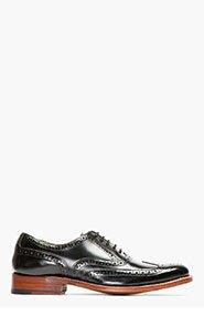 GRENSON Black Hi-Shine Leather Dylan Wingtip Brogues for men