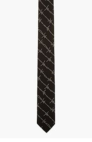 ALEXANDER MCQUEEN Black barbed wire embroidered tie for men