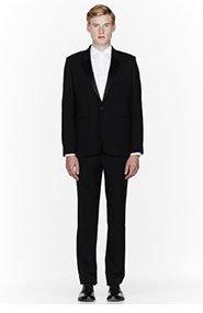 ANN DEMEULEMEESTER Black Satin-collared tuxedo for men
