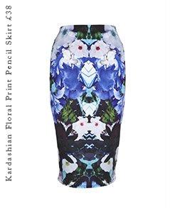 Kardashian Floral Print Pencil Skirt