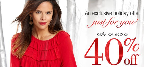 An exclusive holiday offer just for you! Extra 40% off your highest item! Use RDHOLIDAYS