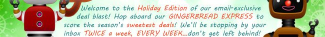 welcome to holiday edition of our email-exclusive deal blast! hop aboard our gingerbread express to score the season's sweetest deals! we'll be stopping by your inbox twice a week, every week ... dont get left behind!