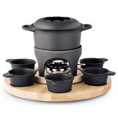 Fondue Carousel with 6 Iron Cast Bowls
