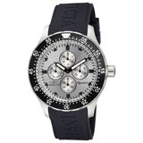 Invicta 7400 Mens Signature II Silver Dial Black Rubber Strap GMT Watch
