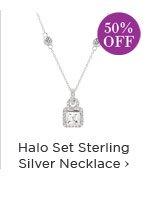 Halo Set Sterling Silver Necklace
