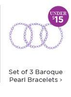 Set of 3 Baroque Pearl Bracelets