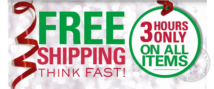 FREE SHIPPING! Think Fast! 3 Hours only on all items