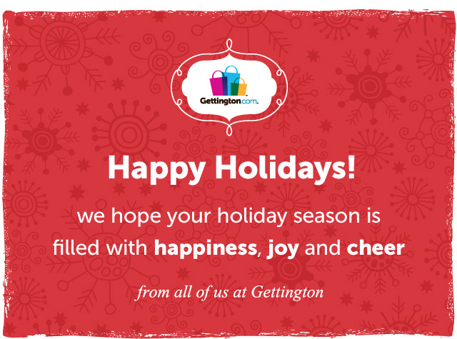 Happy Holidays! we hop your holiday season is filled with happiness, joy and cheer - from all of us at Gettington