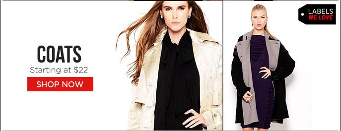 Labels We Love Sale! Coats by BCBGMAXARIA, Stefanel, D&G, Starting at $22