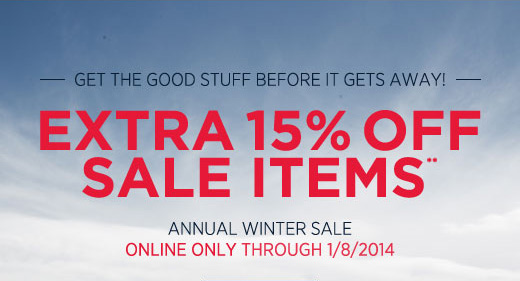 Extra 15% off sale items**
