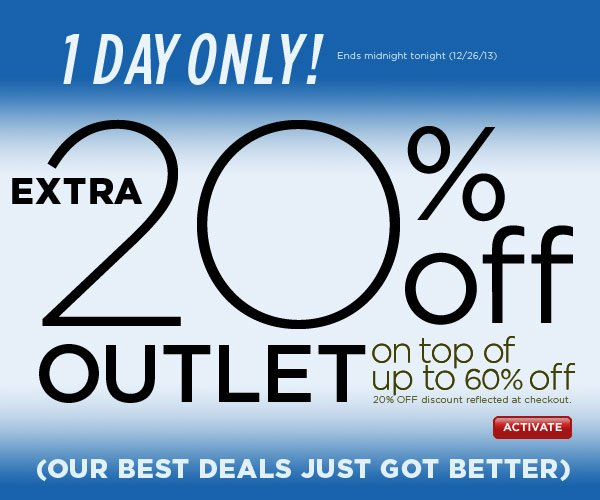 Shop Outlet with an EXTRA 20% Off