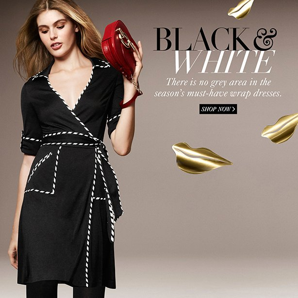 Black & White: There is no grey area in the season's must-have wrap dresses. Shop Now.