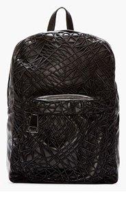 CHRISTOPHER KANE Black Leather Crackle Backpack for women
