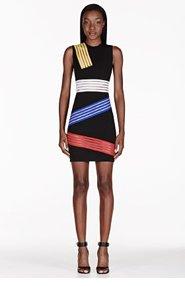 CHRISTOPHER KANE Black Colorblocked Stripe Cut-Out Dress for women