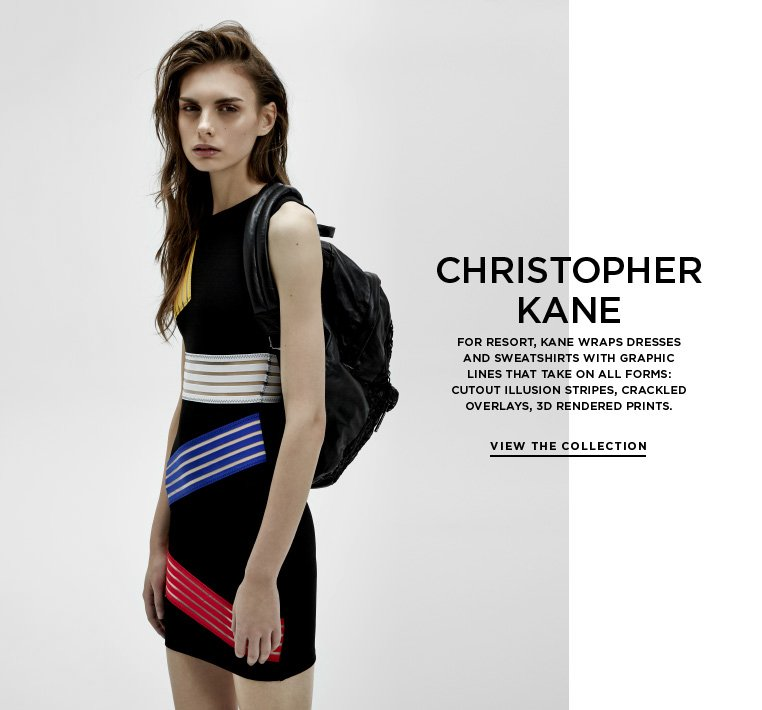 Futuristic geometry from Christopher Kane For Resort, Kane wraps dresses and sweatshirts with graphic lines that take on all forms: cutout illusion stripes, crackled overlays, 3D rendered prints.